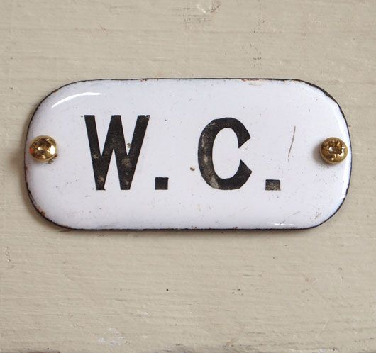 Early 1900s Enamel Toilet Door Sign: W. C.