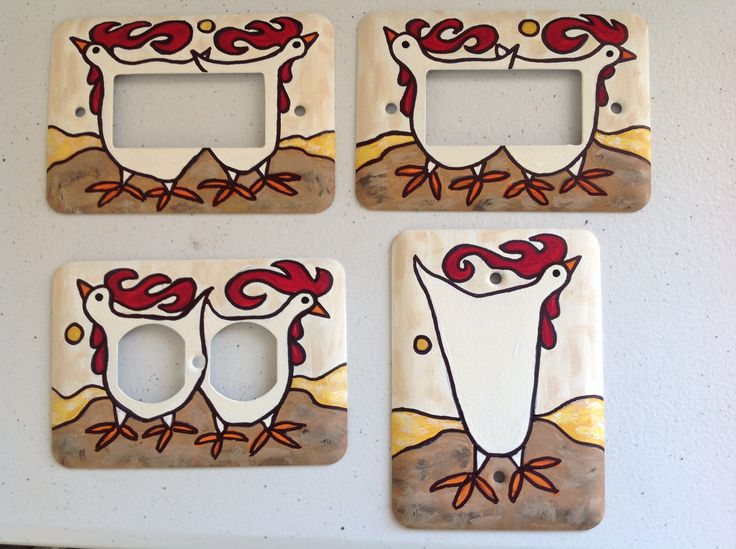 Custom hand painted rooster switch plate and outlet covers by Debra Swantek.