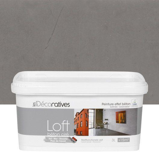 Peinture décorative, Loft béton ciré LES DECORATIVES, gris plomb, 3 l