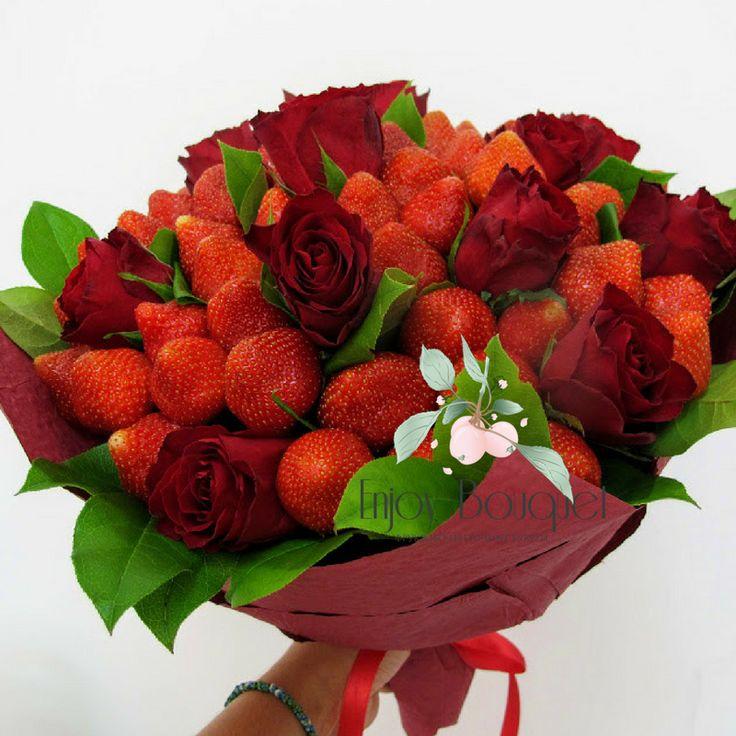 Цветов, букеты из розовых цветов и фруктов москва