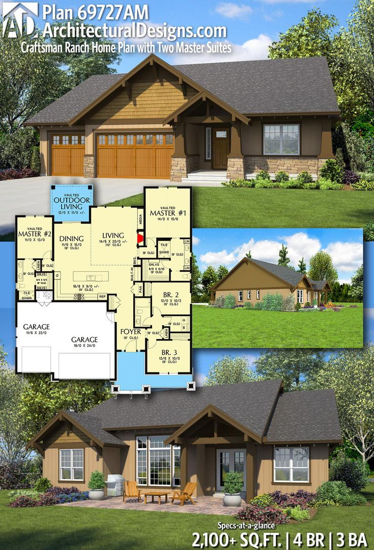 Plan 69727AM Craftsman Ranch Home Plan with Two Master