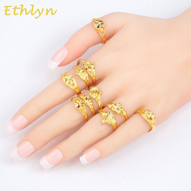Ethlyn Etíope de Casamento Mulheres anéis 22 k real Banhado A Ouro ajustável jóias Anéis de presente de Natal 10 projetos/lote mix itens R041