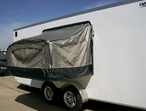 7' x 18' Aluminum Enclosed Trailer by Lightning with Bunk