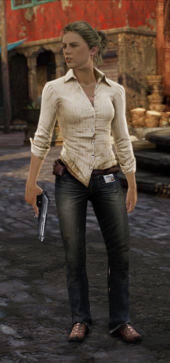 Elena Fisher, Uncharted 2: Untucked button-down, dark denim jeans, sneakers