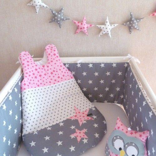 boutique Gulli Gribouilli : tour de lit et gigoteuse étoile gris rose