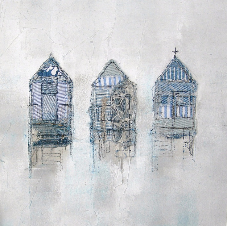 Jayne Ward - Love how she had created this piece of art, using pieces of different fabrics and what seems to be some watercolour paint on the background fabric.