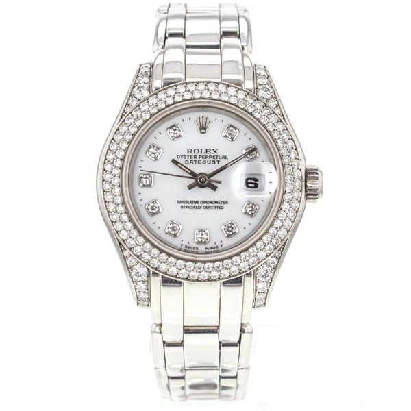 Rolex Pre-owned Rolex Pearlmaster 69359 18K White Gold Watch Factory... found on Polyvore featuring jewelry, watches, dial watches, white bracelet, white gold watches, white gold bracelet and diamond jewelry