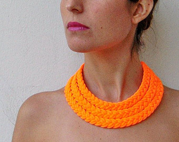 neon choker, neon necklace, statement necklace, braided necklace, friendship necklace, neon fabric - Triple braid necklace - neon orange