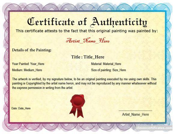 Certificate Of Authenticity 23 Templates Certificate Moleskine Templates