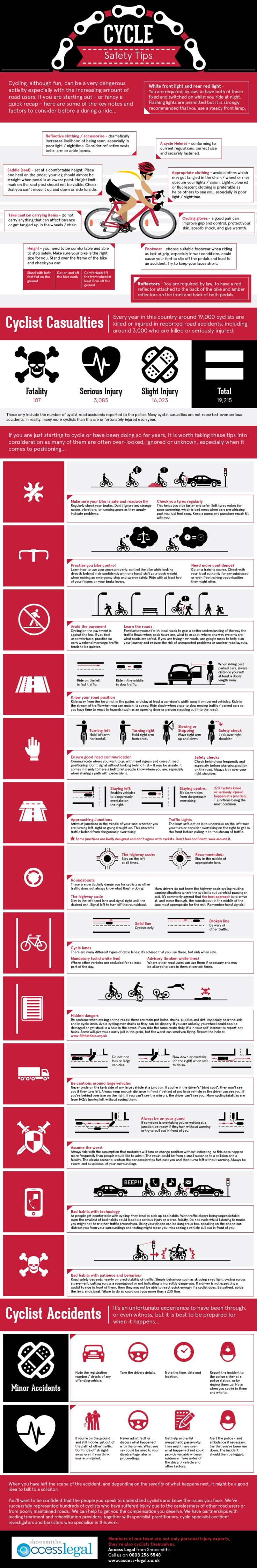 Check out our cycle safety tips infographic for a recap of the do's and don'ts of cycling because, although more often than not the cyclist is the 'innocent victim' in any accident there are things you can do make sure you're safe on two wheels.      Read more: http://www.access-legal.co.uk/legal-news/Infographic-Cycle-safety-tips-4887.htm