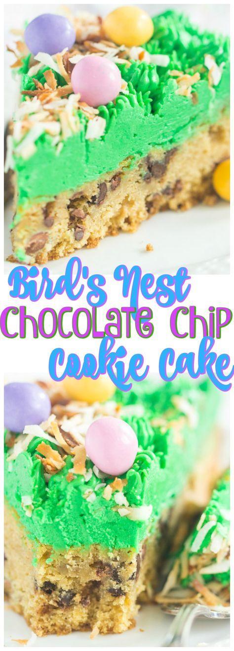 Bird's Nest Chocolate Chip Cookie Cake recipe image thegoldlininggirl.com pin 1
