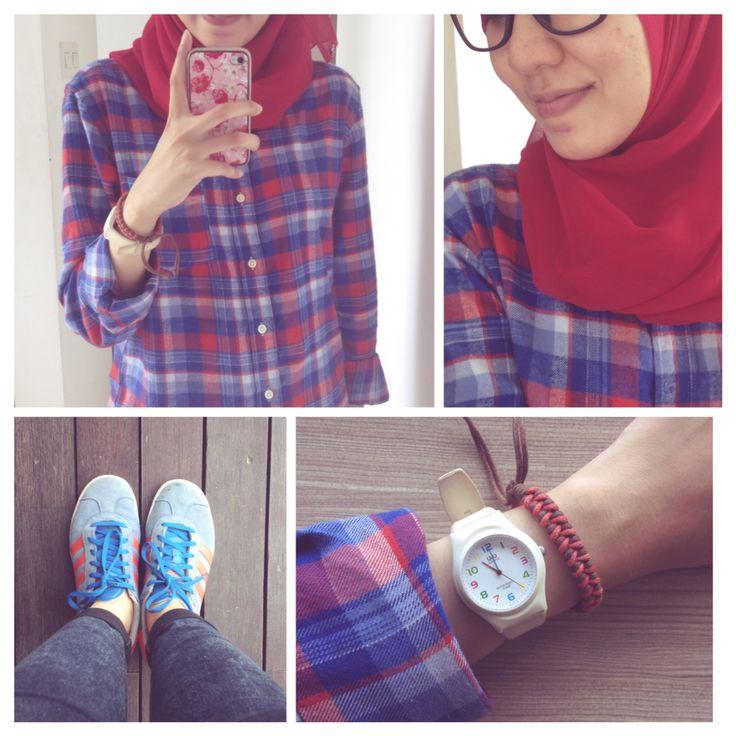 #ootd hijab style : Plaid shirt, jeans, adidas, square scarf, vintage watch, diy bracelet. #fien
