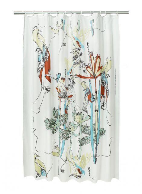 Iso satakieli shower curtain (white,black,green,light blue) |Décor, Bathroom, Shower Curtains & Bath Mats | Marimekko