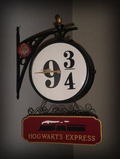 OOAK Harry Potter Hogwarts Express Platform 9 3/4 Wall Clock