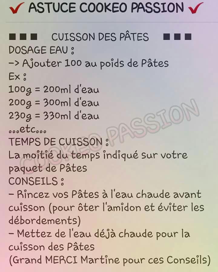 Cuisson pâtes cookeo