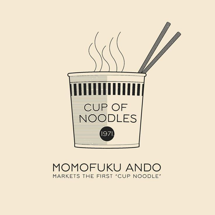 This Day In History - Sept 18 - 1971 - Momofuku Ando markets the first Cup Noodle, and does it in a polystyrene container. -- #thisdayinhistory #todayinhistory #tdih #history #ramen #noodles #cupnoodle #cuponoodles #collegefood #college #fastfood #polystyrene #momofuku #ando #momofukuando #365project #illustration #vector #adobe #onthisday