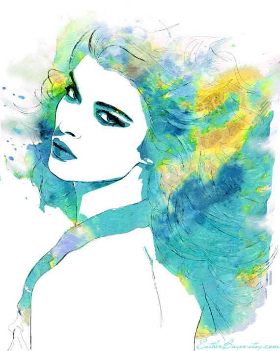 Tropical waters- Watercolor Fashion Illustration Sketch Drawing Abstract Print