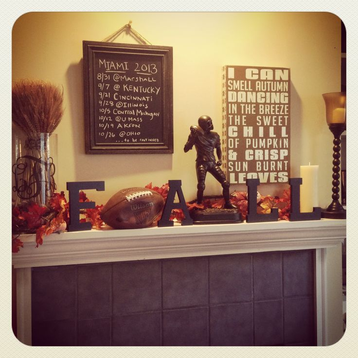 #Fall #Football #Mantel  Perfect with Clemson orange accents