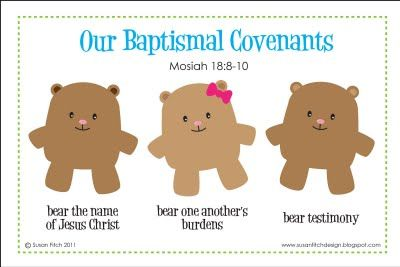 "baptism bears... ""bear"" his name... ""bear"" one another's burdens.... ""bear"" testimony... ---> would be cute to make it a tag and attach to gummy bears or cinnamon bears or gharam cracker bears"