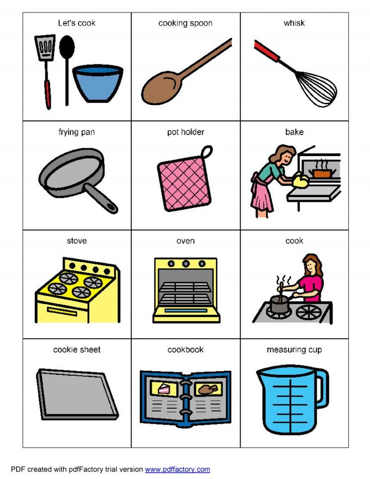 Living Well With Autism - Cooking Visual Helpers. Lots of great visuals for various topics
