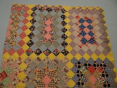 Antique Patchwork Feedsack Quilt Top Hand Sewn | eBay