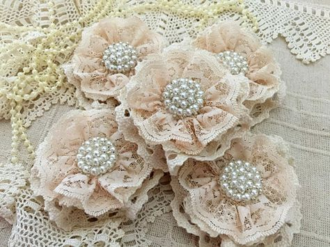 shabby chic cotton lace handmade flowers perfect for any kind of embellishing. They can be added to headbands, hair clips, brooch pins, bridal bouquets, mason jars, vases, purses, tables, pillows, and much more