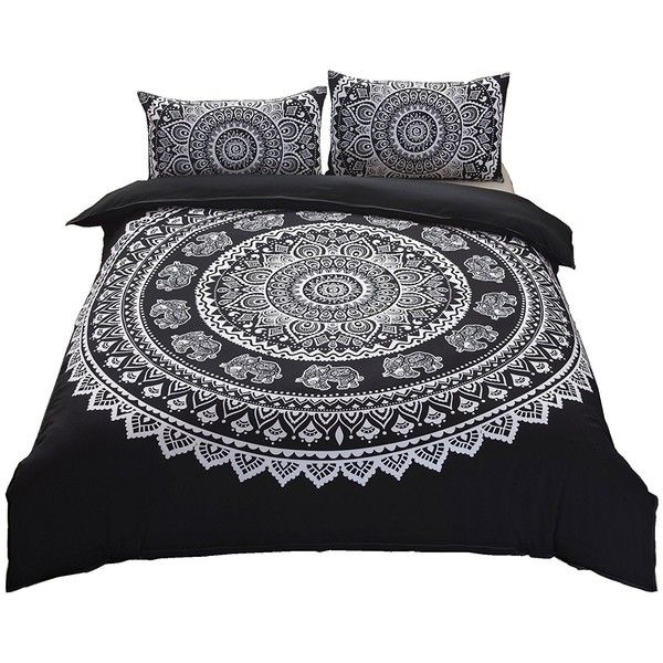 Indian Mandala Elephant Boho Bedding Bohemian Bedding Duvet Cover Set... ❤ liked on Polyvore featuring home, bed & bath, bedding, duvet covers, queen bed linens, black queen bedding, black bedding, queen duvet cover sets and mandala bedding
