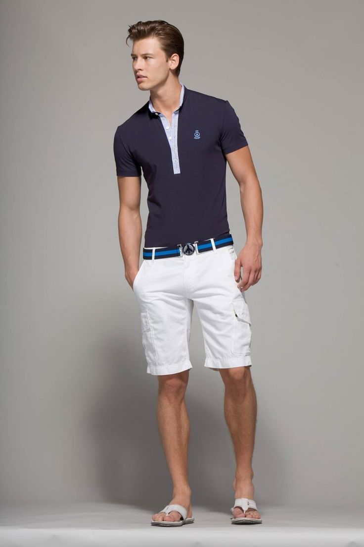 Men's Navy Polo, White Shorts, White Flip Flops, Navy Horizontal ...