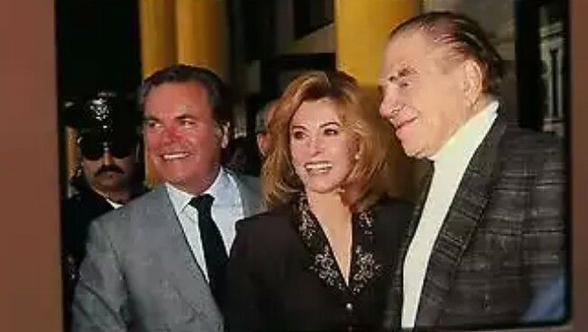 """November 25, 1992: Robert Wagner, Stefanie Powers and Lionel Stander on the day Stefanie was honored with a star on the """"Hollywood Walk of Fame"""" for her achievements in movies and television."""