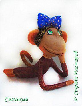 Поделка изделие Новый год Папье-маше И ешё обезьянка Бумага Клей Краска фото 2