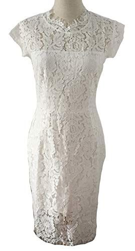 b6aff11fa3b MEROKEETY Women s Sleeveless Lace Floral Elegant Cocktail Dress Crew Neck  Knee Length Party