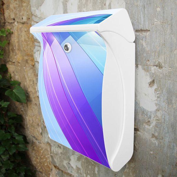 Briefkasten Weiß mit  Motiv Blue Wave von banjado via dawanda.com