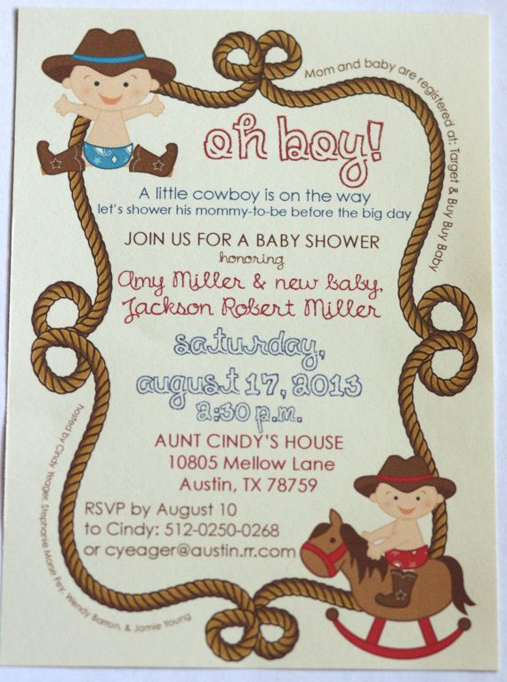 Cowboy Baby Shower Invitation Party By Aestheticjourneys