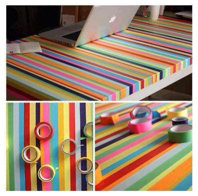 Multicoloured taped desk top