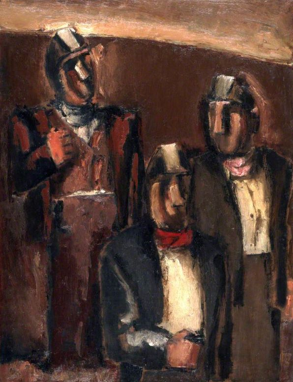 Josef Herman (1911-2000, Polish-British), ca. 1966, Three Welsh Miners, Oil on canvas, 66 x 51 cm. © estate of Josef Herman. All rights reserved, DACS 2017. Photo credit: Amgueddfa Cymru, National Museum Wales