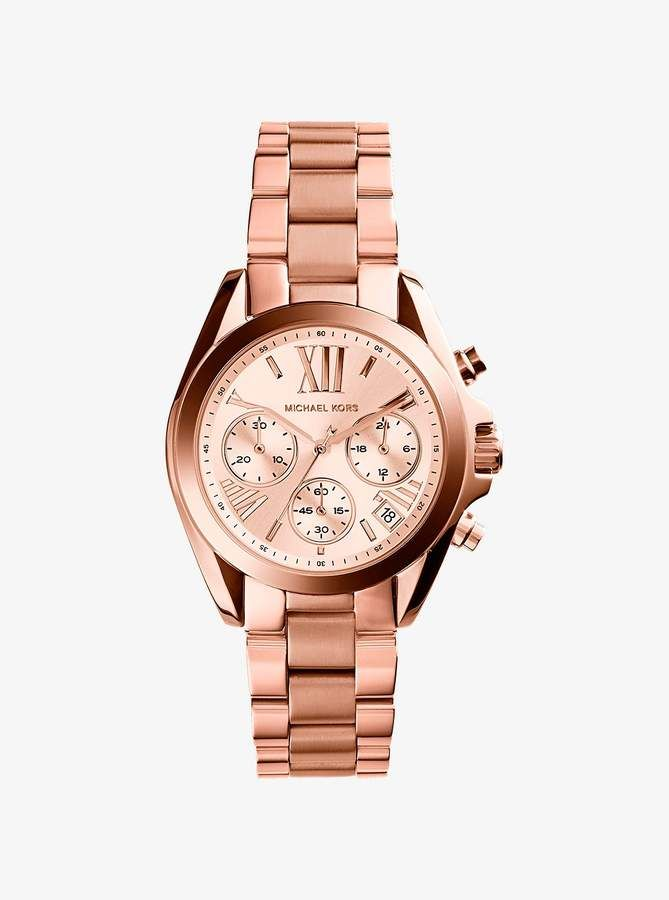 87263a3c1c3c Michael Kors Mini Bradshaw Rose Gold-Tone Stainless Steel Watch ...