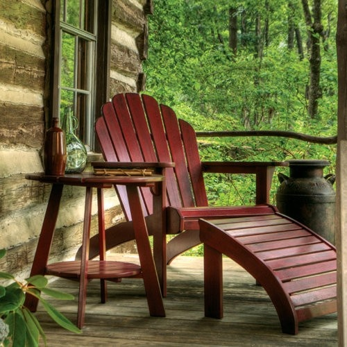 Old Forge Brazilian Cherry Adirondack Chair And Footrest