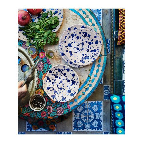 IKEA JASSA | Handcrafted artisan serveware. Those blues though!  Serving platter £9.95, slide plate £3.50, bowl, £3.00