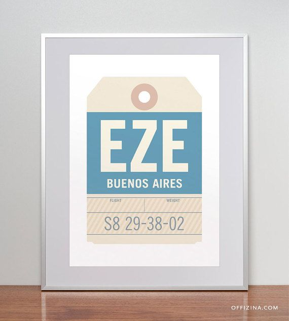 Buenos Aires, Argentina, EZE. Luggage Tag Poster. Baggage Tag Print. Travel Poster. Airport Code. Aviation Art.