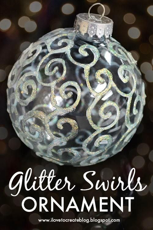 DIY Glitter Swirls OrnamentGlitter Ornaments, Glasses Ornaments, Diy Ornaments, Ornaments Diy, Glitter Swirls, Christmas Decor, Diy Glitter, Christmas Ornaments, Swirls Ornaments