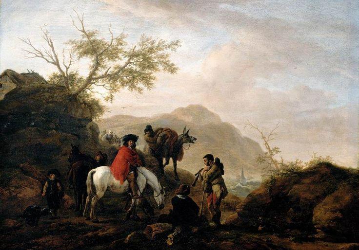 Philips Wouwerman - Scène op een rotsachtige weg