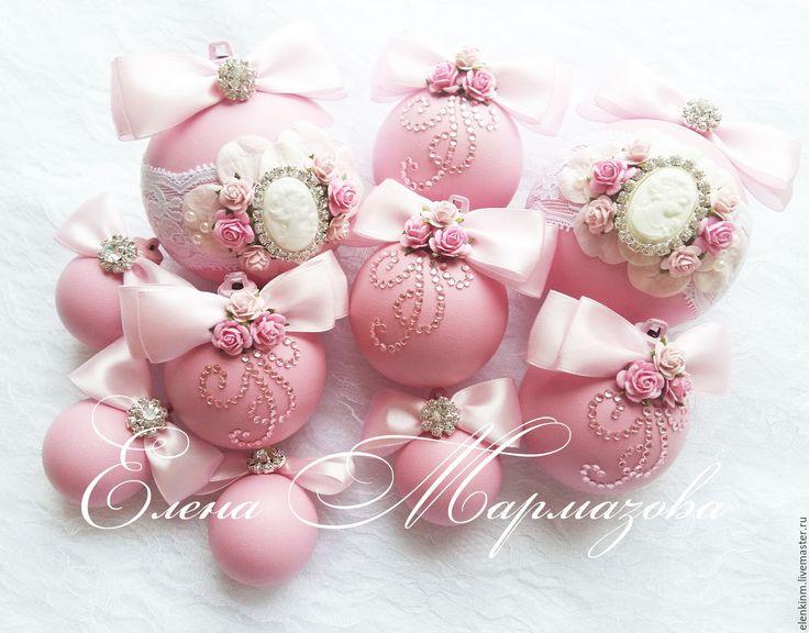 """Купить Набор новогодних шаров """" Розовое утро"""" - розовый, Новый Год, новый год 2016"""