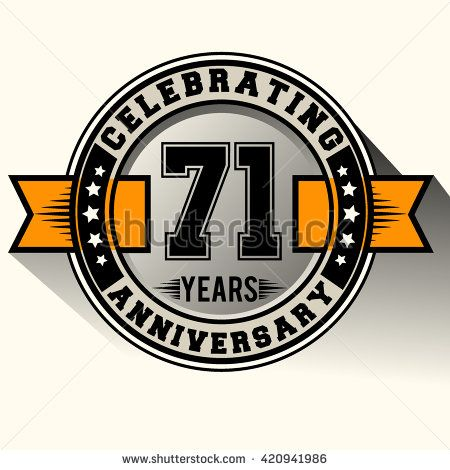 Celebrating 71st anniversary logo, 71 years anniversary sign with ribbon, retro design. - stock vector