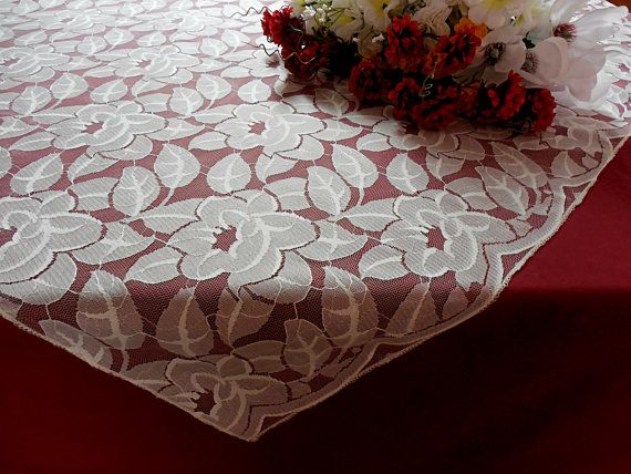 Lace Tablecloth Wedding Lace Overlay Ivory Lace By DaniellesCorner