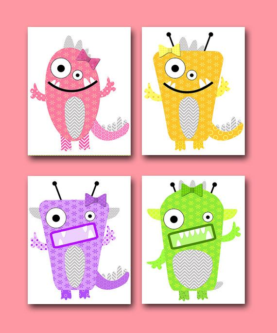 Monsters Nursery Baby Girl Nursery decor Children by artbynataera