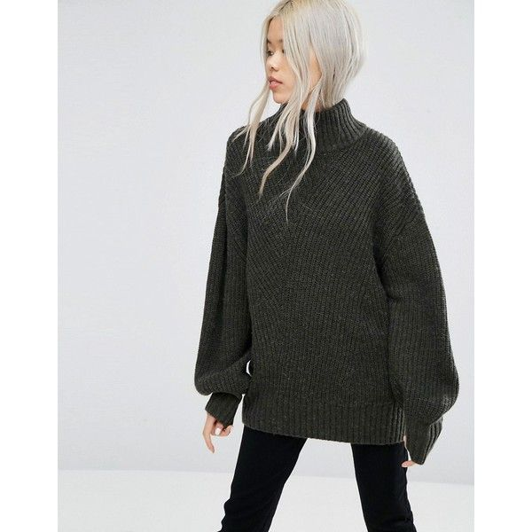 Weekday High Neck Chunky Knit Sweater (115 BAM) ❤ liked on Polyvore featuring tops, sweaters, green, high neck top, over sized sweaters, oversize sweater, oversized chunky knit sweater and high neck sweater