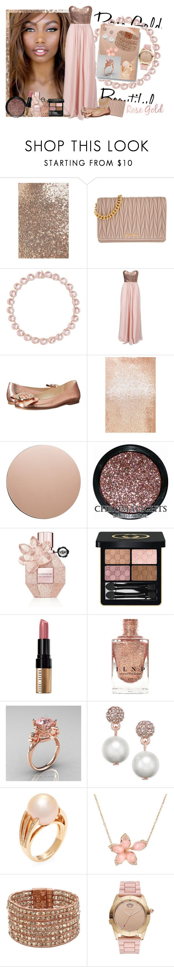 """""""Rose Gold Jewelry"""" by sheri-gifford-pauline ❤ liked on Polyvore featuring LULUS, Miu Miu, Larkspur & Hawk, NLY Eve, Frances Valentine, House Doctor, Viktor & Rolf, Gucci, Bobbi Brown Cosmetics and Modern Vintage"""