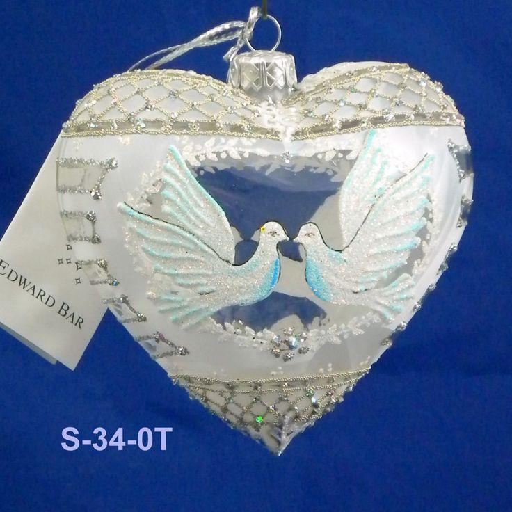 """Edward Bar HEART WHITE DOVES 4.72"""" glass Christmas ornament handmade in Poland"""