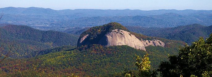 Looking Glass Rock, Ashville, NC - A Hiking trail crosses a cascading stream