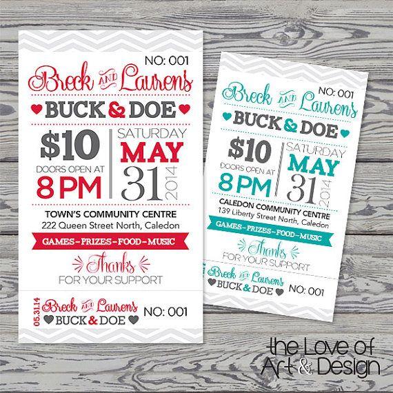 Rustic Typographic Buck & Doe Tickets  by TheLoveOfArtNDesign